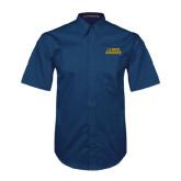 Navy Twill Button Down Short Sleeve-UC DAVIS Aggies