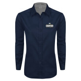 Ladies Navy Twill Button Down Long Sleeve-Big West Mens Basketball Tournament Champions