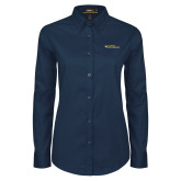 Ladies Navy Twill Button Down Long Sleeve-College of Engineering