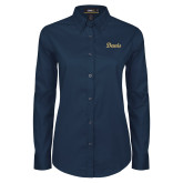 Ladies Navy Twill Button Down Long Sleeve-Script Davis