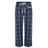 Navy/White Flannel Pajama Pant-Script Davis