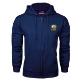 Navy Fleece Full Zip Hoodie-Primary Mark