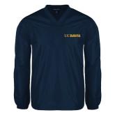 V Neck Navy Raglan Windshirt-UC DAVIS