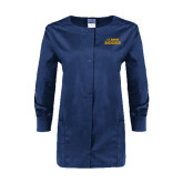 Ladies Navy Snap Front Warm Up Scrub Jacket-UC DAVIS Aggies