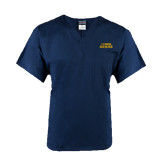 Unisex Navy V Neck Tunic Scrub with Chest Pocket-UC DAVIS Aggies
