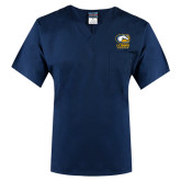 Unisex Navy V Neck Tunic Scrub with Chest Pocket-Primary Mark