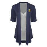 Ladies Navy Drape Front Cardigan-Primary Mark