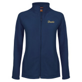 Ladies Fleece Full Zip Navy Jacket-Script Davis