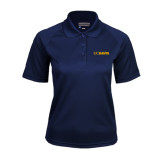Ladies Navy Textured Saddle Shoulder Polo-UC DAVIS