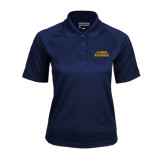 Ladies Navy Textured Saddle Shoulder Polo-UC DAVIS Aggies