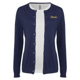 Ladies Navy Cardigan-Script Davis