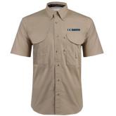 Khaki Short Sleeve Performance Fishing Shirt-UC DAVIS