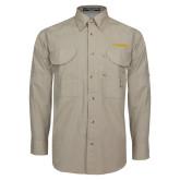 Khaki Long Sleeve Performance Fishing Shirt-UC DAVIS