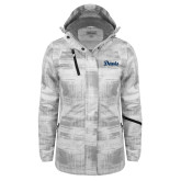 Ladies White Brushstroke Print Insulated Jacket-Script Davis