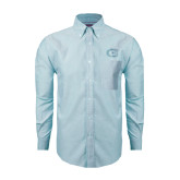 Mens Light Blue Oxford Long Sleeve Shirt-Official Logo