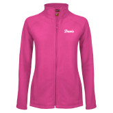 Ladies Fleece Full Zip Raspberry Jacket-Script Davis
