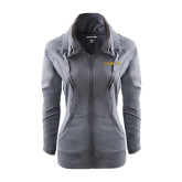 Ladies Sport Wick Stretch Full Zip Charcoal Jacket-UC DAVIS