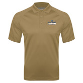 Vegas Gold Textured Saddle Shoulder Polo-Big West Mens Basketball Tournament Champions