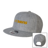 Heather Grey Wool Blend Flat Bill Snapback Hat-UC DAVIS