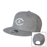 Heather Grey Wool Blend Flat Bill Snapback Hat-Secondary Athletics Mark