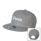 Heather Grey Wool Blend Flat Bill Snapback Hat-Script Davis