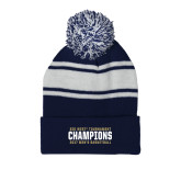Navy/White Two Tone Knit Pom Beanie with Cuff-Big West Mens Basketball Tournament Champions