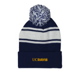 Navy/White Two Tone Knit Pom Beanie w/Cuff-UC DAVIS