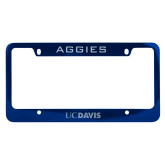 Metal Blue License Plate Frame-UC DAVIS Engraved