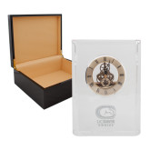 Grand Crystal Clock in Rosewood Box-Primary Mark Engraved