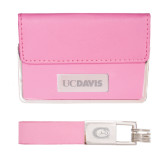 Business Card Case and Key Ring Set Pink-UC DAVIS Engraved