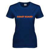 Ladies Navy T Shirt-Coast Guard