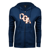 ENZA Ladies Navy Fleece Full Zip Hoodie-Secondary Logo