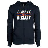 ENZA Ladies Navy Fleece Full Zip Hoodie-Class Of - Stripes