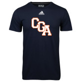 Adidas Climalite Navy Ultimate Performance Tee-Secondary Logo