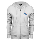 ENZA Ladies White Fleece Full Zip Hoodie-Secondary Logo