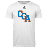 Adidas Climalite White Ultimate Performance Tee-Secondary Logo