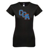 Next Level Ladies SoftStyle Junior Fitted Black Tee-Secondary Logo