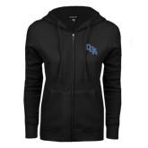 ENZA Ladies Black Fleece Full Zip Hoodie-Secondary Logo