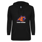 ENZA Ladies Black V-Notch Raw Edge Fleece Hoodie-Primary Logo
