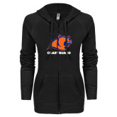 ENZA Ladies Black Light Weight Fleece Full Zip Hoodie-Primary Logo