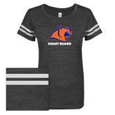 ENZA Ladies Black/White Vintage Triblend Football Tee-Primary Logo