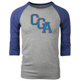 Grey/Royal Heather Tri Blend Baseball Raglan-Secondary Logo