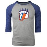 Grey/Royal Heather Tri Blend Baseball Raglan-Tertiary Logo