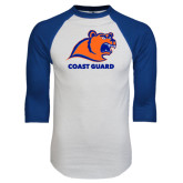 White/Royal Raglan Baseball T Shirt-Primary Logo