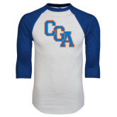 White/Royal Raglan Baseball T Shirt-Secondary Logo