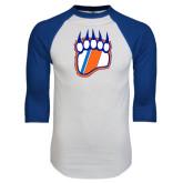 White/Royal Raglan Baseball T Shirt-Tertiary Logo