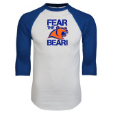 White/Royal Raglan Baseball T Shirt-Fear the Bear