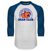 White/Royal Raglan Baseball T Shirt-Bear Club