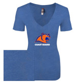 Next Level Ladies Vintage Royal Tri Blend V-Neck Tee-Primary Logo
