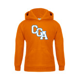 Youth Orange Fleece Hoodie-Secondary Logo
